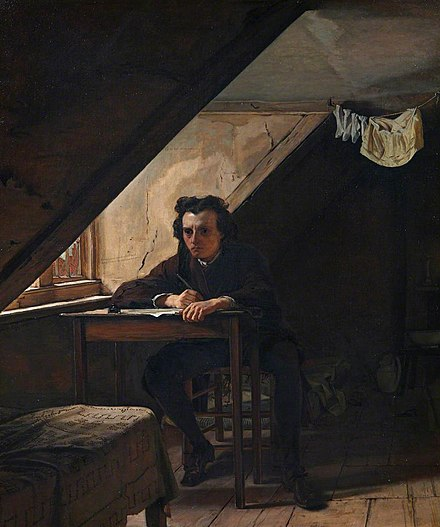 Self Portrait as a Distressed Poet, Augustus Leopold Egg (1858)