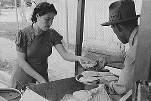 Tex-Mex - A baked beans and tortillas seller at San Antonio, Texas, c. 1939