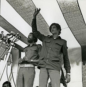 Sheikh Jamal - Kader Siddiqui (left) and Sheikh Jamal (right) at the first public meeting after liberation in Polton, Dhaka (1971)