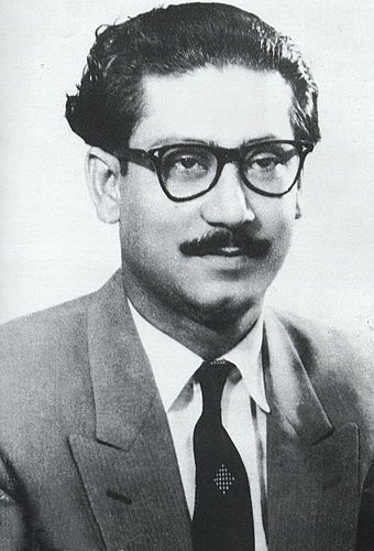 Following the Pakistan Army's brutal Operation Searchlight on 25 March 1971, Sheikh Mujibur Rahman declared the Independence of Bangladesh and called for nationwide resistance on 26 March midnight, which led the Bangladesh Liberation War to officially start within hours. Sheikh Mujibur Rahman in 1950.jpg