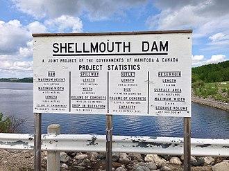 Shellmouth Reservoir - Image: Shellmouth Dam Sign