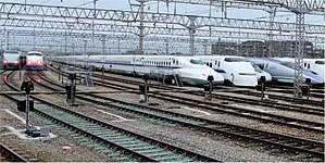 Shinkansen - A lineup of JR West Shinkansen trains in October 2008