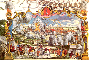 Depiction of the 1734 Siege of Danzig by Russian and Saxon forces in 1734