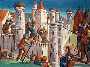 A colourful Medieval depiction of a fortification being assaulted