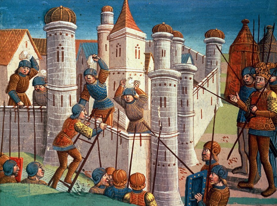 Siege of a city, medieval miniature