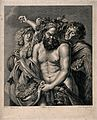 Silenus, holding grapes and crowned with vines, flanked by t Wellcome V0019448.jpg