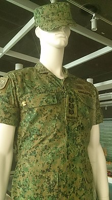 A mannequin in army uniform