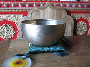 A singing bowl in Samye Ling, a Tibetan Buddhi...