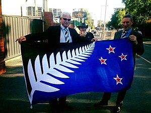Lockwood silver fern flag - Image: Sir Richard Hadlee and Lockwood silver fern flag