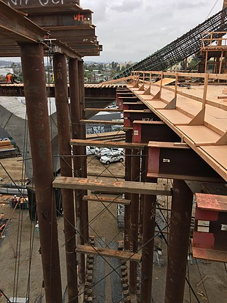 Falsework - Sixth Street Viaduct Falsework - Bent 11 Jump Span.  Shown in the background is a concrete Y-Arm.