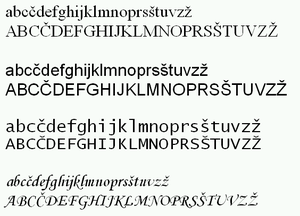Slovene alphabet - The Slovene alphabet in various fonts (Times New Roman, Arial, Lucida Console and Monotype Corsiva)