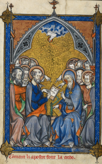 Apostles' Creed - This illumination from a 13th-century manuscript shows the apostles writing the Creed, receiving inspiration from the Holy Spirit.