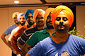 South Asian language Wikimedians wearing dastar (turban from Punjab) after Swatantra 2014, Thiruvananthapuram.JPG