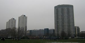 Southside Wandsworth - The centre from St George's park, showing four of the five residential blocks built within close proximity to the shopping centre