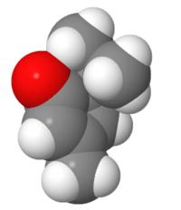 Spacefilling model of umbellulone.png