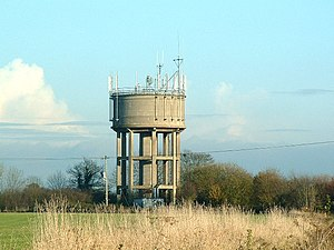 Spaldington - Spaldington water tower with telecommunication aerials (2005)
