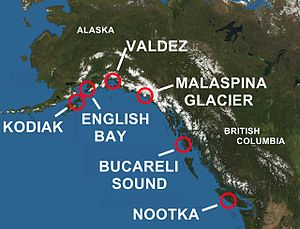 Spanish expeditions to the Pacific Northwest - Areas of Alaska and British Columbia Explored by Spain