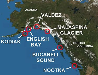 Areas of Alaska and British Columbia Explored by Spain Spanish contact in BC and Alaska.jpg