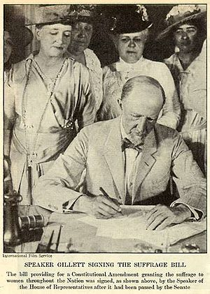 Nineteenth Amendment to the United States Constitution - Speaker Frederick H. Gillett signing the constitutional amendment bill