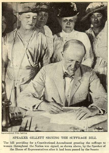 Speaker Gillett Signing the Suffrage Bill