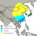Spodiopsar cineraceus distribution.png