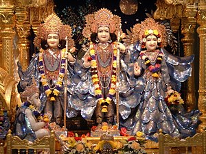 Lakshmana - Lakshmana (far left), Rama (centre), Sita (far right) and Hanuman (below seated), Hare Krishna temple, Watford, England