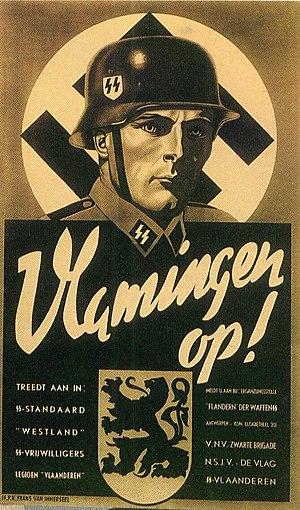"History of Flanders - Recruitment poster for the Algemeene-SS Vlaanderen with the slogan ""Flemish, onwards!"""