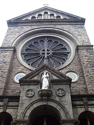 St. Anthony of Padua Church (Manhattan) - A view of the facade of the church