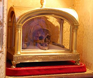 Relic - Reliquary and skull of Saint Ivo of Kermartin (St. Yves or St. Ives), (1253–1303) in Tréguier, Brittany, France
