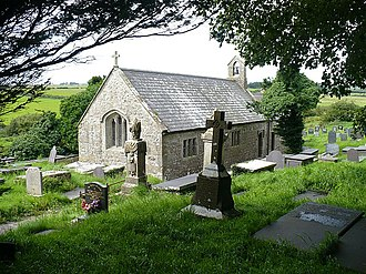 St Cwyllog's Church, Llangwyllog - The church from the east, showing the 15th-century arched east window