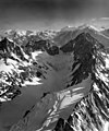 St Patrick's Glacier, mountain glacier, aretes, and bergschrund in the foreground, August 25, 1965 (GLACIERS 6826).jpg