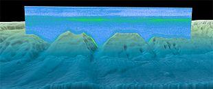 Immagine sonar che mostra il DSL, rappresentato dallo strato verde a mezza profondità