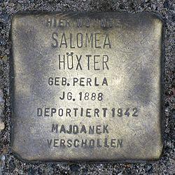 Photo of Salomea Höxter brass plaque