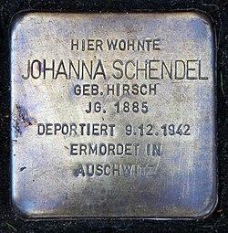 Photo of Johanna Schendel brass plaque