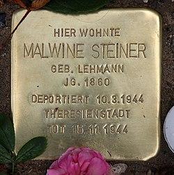 Photo of Malwine Steiner brass plaque