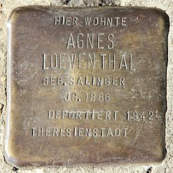 Photo of Agnes Loewenthal brass plaque
