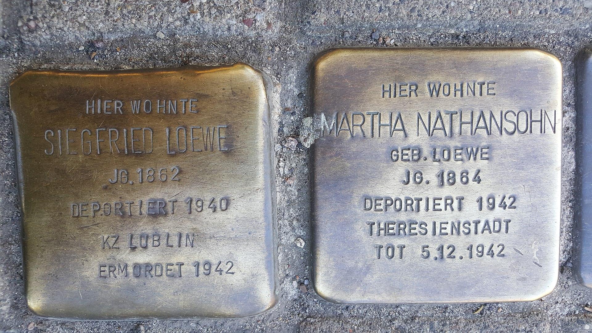 Stolperstein Siegfried Loewe, Martha Nathansohn.jpg