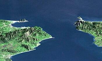 Strait of Gibraltar, representation by NASA (looking east, Gibraltar left, Ceuta right)