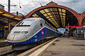 Strasbourg Gare Centrale voies 2 3 rames TGV 19 août 2013 05.jpg