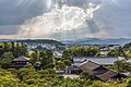 Sunlight through clouds and view of Ginkaku-ji Temple from above, Kyoto, Japan.jpg