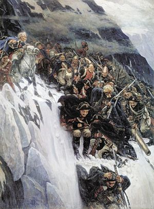 Campaigns of 1799 in the French Revolutionary Wars - Russian troops under Generalissimo Suvorov crossing the Alps in 1799.