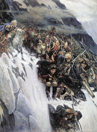 Russian troops under Generalissimo Suvorov crossing the Alps in 1799. Suvorov crossing the alps.jpg