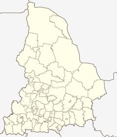 """Mapa konturowa obwodu swierdłowskiego, na dole po lewej znajduje się punkt z opisem """"Pierwouralsk"""""""