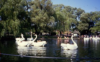 Toronto Islands - Swan-boat ride at Centreville Amusement Park in 1984. The park was opened in 1967 on Centre Island.