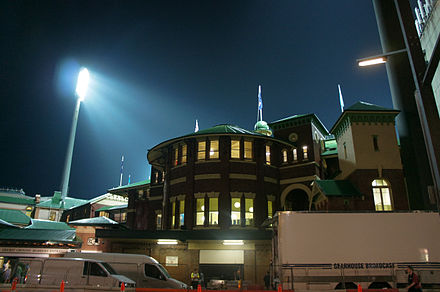 The Sydney Cricket Ground at night after a rugby match Sydney cricket ground at night.jpg