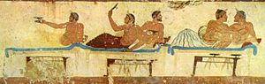 Symposium (Plato) - A fresco taken from the north wall of the Tomb of the Diver (from Paestum, Italy, c. 475 BC): a symposium scene