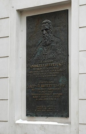 Andrey Sheptytsky - Memorial plaque in Kraków, marking the place where Szeptycki lived