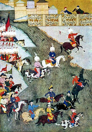 Siege of Szigetvár - Persian miniature about the Szigetvár campaign showing Ottoman troops and Tatars as vanguard, date 1579