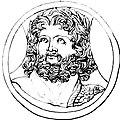 Tête de Zeus avec couronne végétale et portant l'égide sur l'épaule dessin d'un camée.jpg
