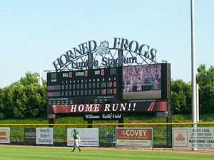 TCU Horned Frogs - The Lupton Stadium scoreboard in use during a game.